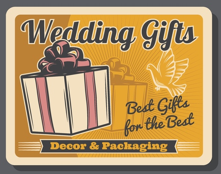Presents, wedding gifts, marriage ceremony or anniversary decor and packaging. Vector box with ribbon and bow, white dove or pigeon silhouette. Decoration and packing services of holiday event Illustration