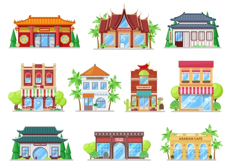 Restaurants buildings, vector icons. National cuisine restaurants of Japan and Korea, China and India, Thailand and France, Mexico and Italy, Spain and arabian. Cartoon glossy icons