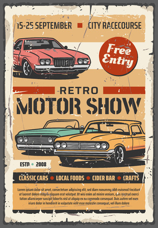 Vintage cars on motor show, vector retro vehicles exhibition. Car restoration of old transport, cabriolet and coupe Illustration