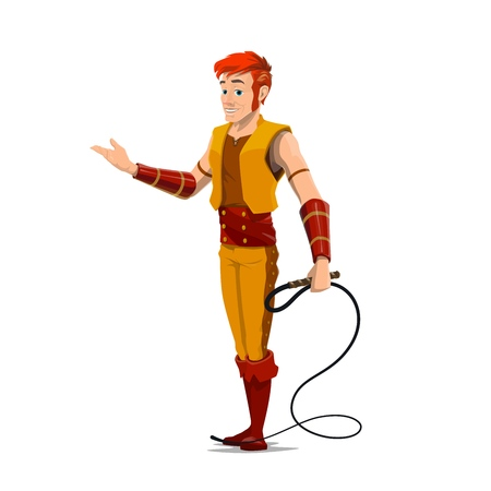 Tamer with whip, animal trainer or handler vector character. Entertainer in carnival costume and show equipment. Big top circus actor or artist in scenic outfit, cartoon performer on show