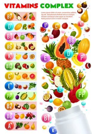 Vitamins and minerals complex, vegetarian food. Vector natural fruits and berries organized by content of vitamin pills. Banana and carambola, maracuya and grapefruit, longevity supplements Illustration