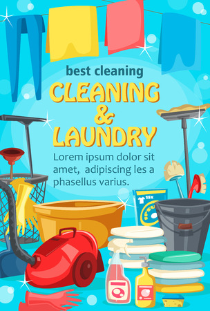 Cleaning service and laundry. Vector washing clothes and housekeeping, jeans and towel on line, basin and rubber gloves. Detergent and sprayer, vacuum cleaner and towels pile, mop and brush, sponge Illustration