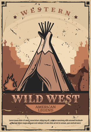 Wild West wigwam, native Americans or Indian dwelling, retro vector. Cone tent, house of sticks and animal skin near fire with horses silhouette. Western authentic teepee, mountains and cactuses Illustration