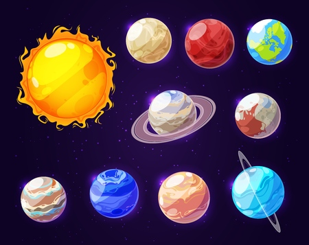 Planets of Solar system in space, cartoon icons. Vector cosmic bodies and star templates, Sun and Earth, Mars and Jupiter, Saturn and Venus. Mercury and Uranus with Pluto and Neptune at night sky