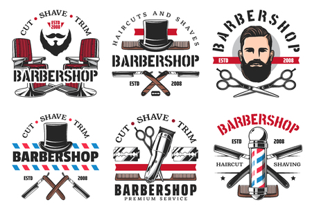 Barber shop haircut and shaving icons. Vector man with hairstyle, beard and mustaches, retro razor blade, scissors with hair dryer, hat and male cologne bottle. Hipster hairdresser salon