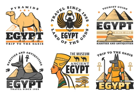 Reisen Sie nach Ägypten, große Pyramiden isolierte Ikonen. Vektorkamel und Skarabäus, Sphinx und Pharao Hound, Nofretete-Königin und Anubis-Gott. Alte Geschichte der ägyptischen Kultur und Religion, Museumssymbole