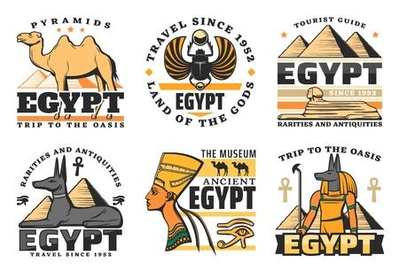 Viaje a Egipto, grandes pirámides iconos aislados. Vector camello y escarabajo, esfinge y sabueso faraón, reina Nefertiti y Dios Anubis. Historia antigua de la cultura y religión egipcia, símbolos del museo