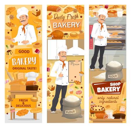 Baker baking bread or pastry food, bakery shop showcase. Vector bread and baguette, cake and roll with jam, toast and donut. Croissant and waffles, gingerbread cookie and cupcake, sack of flour  イラスト・ベクター素材