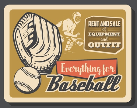 Baseball sport retro poster, vector. Glove with ball and catcher player in helmet, championship or tournament, professional league theme design. Sporting outfit, american sport