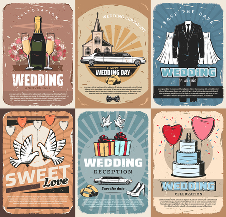 Marriage ceremony and wedding celebration service. Vector champagne and bouquet of rose, limousine and church, gown and suit. Dove and bridal rings, cake and heart shaped balloons, gift boxes, shoes