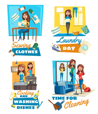 Housekeeping service, cleaning and cooking, dishwashing and laundry, sewing. Vector housewife, vacuum cleaner and mop, sink and clean clothes. Washer and iron, mixer and detergent, household chores Illustration