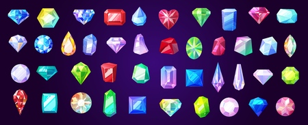 Precious stones and gems, jewelry. Vector rhinestone and brilliant, sapphire and amethyst, aquamarine and tourmaline, diamond and emerald, quartz and ruby jewels, agate Illustration