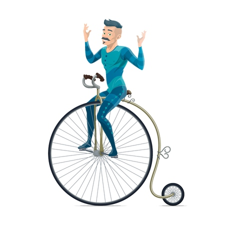 Cyclist on retro circus bicycle with big front wheel, isolated vector. Big top circus performer, man with mustaches riding bike without hands. Performance from artist in scenic outfit showing tricks Ilustração