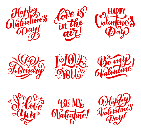 Happy Valentines Day hand drawn calligraphy text for greeting card wishes. Celebration and holiday, congratulation lettering or font icons with I love you phrase and hearts or swirls vector isolated