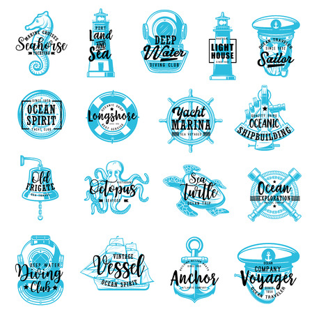 Nautical and marine icons with lettering, heraldry. Vector seahorse and lighthouse, diving and captain sailor, compass and lifebuoy. Steering wheel and deck bell, octopus and turtle, spyglass and ship