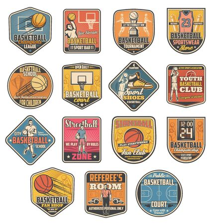 Basketball sport icons, ball and player. Vector basket and court, uniform and sneakers, trainer and whistle, score screen and sportswear. Retro streetball tournament and championship