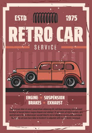 Retro car repair service, spare parts, garage station. Vector old vintage vehicle maintenance and restoration. Rare transport repairing and renovation of engine, suspension, brakes and exhaust Foto de archivo - 129345351