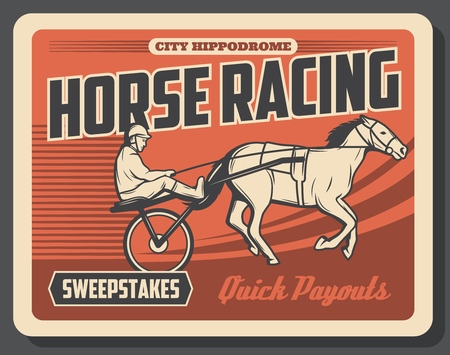 Equestrian sport and horse racing, rider on track at hippodrome, trained animal in sporting championship. Sweepstakes, rider on stallion, equine competition or tournament, betting Illustration