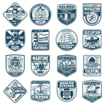 Nautical heraldry icons of marine equipment. Vector lighthouse and bell, compass and diving helmet, sailboat and captain hat. Seahorse and anchor, steering wheel and rope, octopus and lifebuoy, turtle