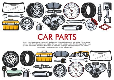 Car repair service, auto spare parts and tools. Vector motor engine, oil or wrench and windshield, light alloy wheels and tires, exhaust pipe and rear view mirror or brakes, speedometer Foto de archivo - 129345355