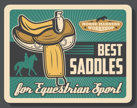 Equestrian sport retro vector, saddles horse race equipment. Harness straps and fittings, rider silhouette on mustang or stallion. Jockey on horseback, horserace gear items repair and production Illustration