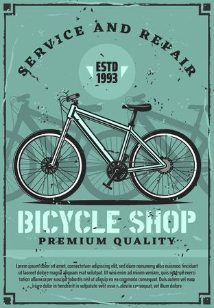 Bicycle repair service and rent, retro vector. Fixing bikes workshop, cycle rental club. Bicycles maintenance, street vehicle, summer transport, parts replacement, tire change, city or mountain model Illustration