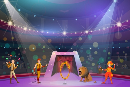Big top circus show. Vector handler or tamer with wild lion and hoop in flames, clown in wig, juggler and monkey showing performance to audience. Performers and trained exotic animals