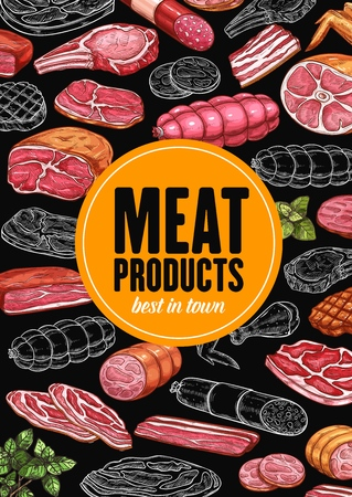 Sausages and meat, butchery products chalk sketches and raw food. Vector beef and pork, salami and ham, grilled chicken wing, smoked frankfurter and wurst, barbeque and bacon, basil greenery 일러스트