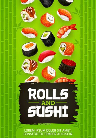 Rolls and sushi Japanese cuisine cooking with fish, vector. Gunkan with shrimp, salmon or eel nigiri. Temaki and sashimi, ikura and kappa, syaki and tekka maki, kappa maki and uramaki, uni and hamachi