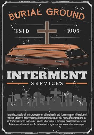 Interment service, funeral ceremony, coffin and cemetery. Vector burial ground, gravestones and crosses, parting with dead tradition. Human death and Christian religious rites, tombstone and tomb Illustration