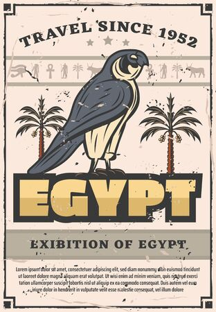 Falcon bird Ancient Egyptian deities, god or goddess, retro vector. Traveling to Egypt, falcon bird and fig palm trees, mummy and anubis, ankh and eye of Horus. Exhibition of Egypt, hawk or eagle
