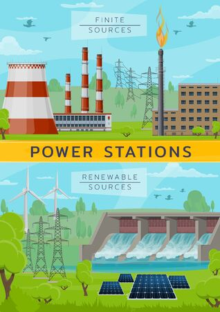 Power plant, finite and renewable sources, eco energy and pollution. Vector nuclear plants and wind mills, water dum and solar battery. Factory and power generation, environment protection Illustration