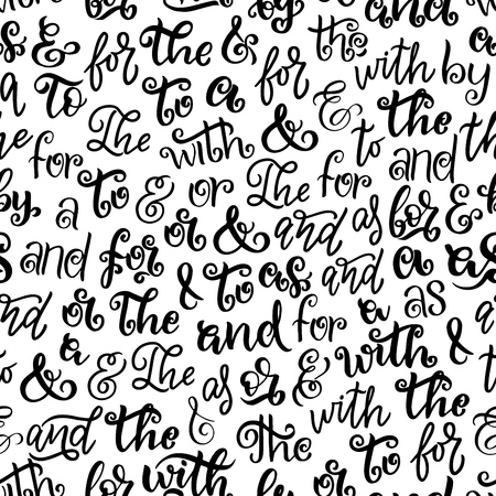 Prepositions, articles and ampersands seamless pattern. Vector fonts, decorative handwriting or handwritten monochrome lettering. Calligraphy and English grammar elements, black print letters