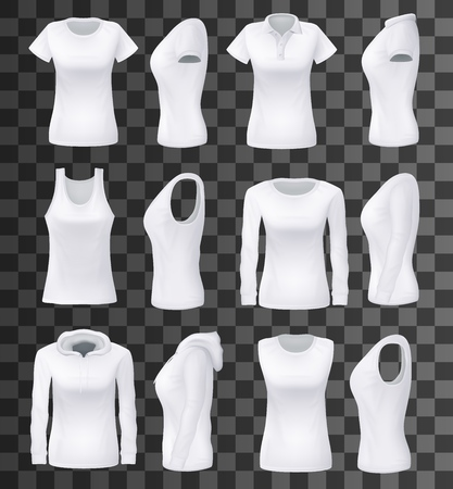 T-shirt templates with hoodie and sweatshirt, polo and singlet or sleeveless shirt isolated mockups. Vector female clothes, casual garments and underwear. Everyday women outfit elements on transparent