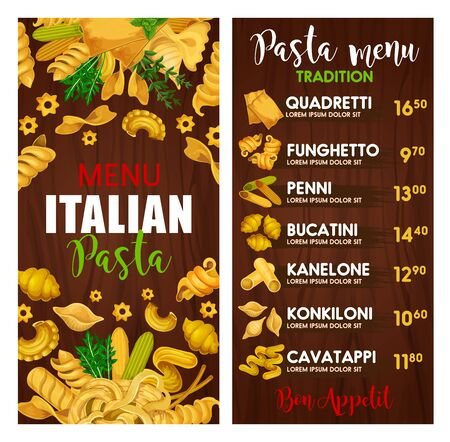 Italian pasta menu, cuisine of Italy. Vector quadretti and funghetto, penni and bucatini, kanelone and konkiloni, cavatappi. Fusili and tagliatelle, penne and stelle, thyme and arugula seasoning