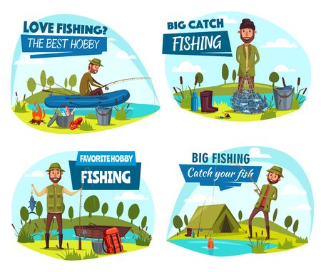 Fishing sport, fisherman and equipment. Vector boat and rod, hook and bait, camping tent and campfire, backpack and fish in net, cauldron and gumboots. Outdoor fishery activity