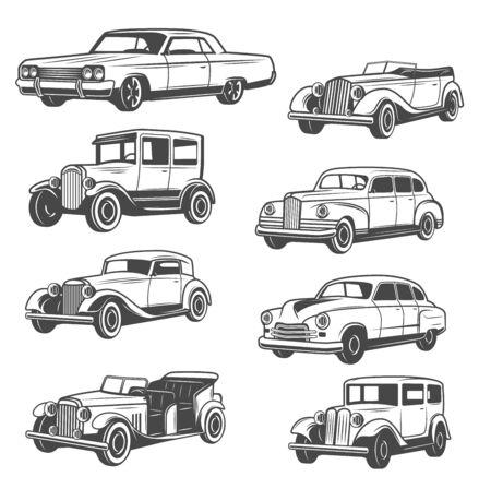 흑백 벡터 자동차, 고립 된 빈티지 차량입니다. 오래된 자동차 전시회 및 모터쇼. 벡터 빈티지 미국 복원 희귀 수송, 기계 제어가 가능한 카브리올레 벡터 (일러스트)