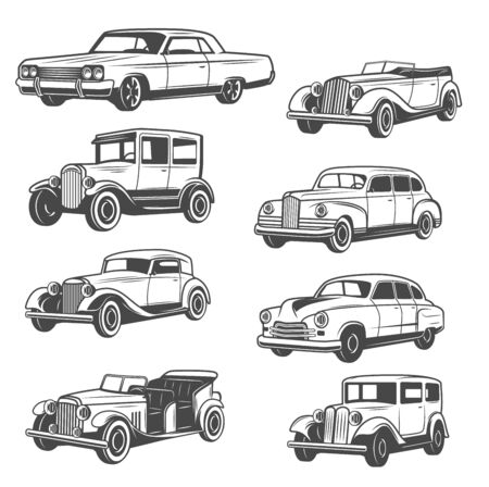 Monochrome vector cars, isolated vintage vehicle. Old vehicles exhibition and motor show. Vector vintage american restoration rarity transport, cabriolets with mechanical control