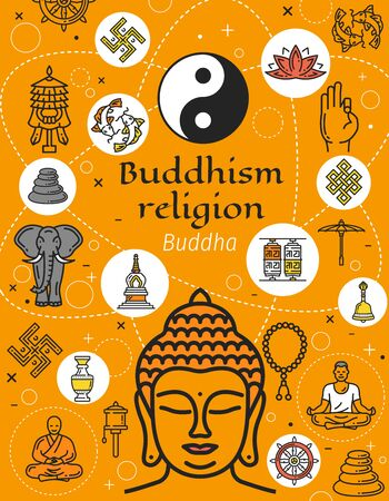 Buddhism religion symbols, oriental culture.  pebble pile and fish, yin yang and endless knot, elephant, rotating drums. Buddha and mudra, monk and meditation, Dharma wheel