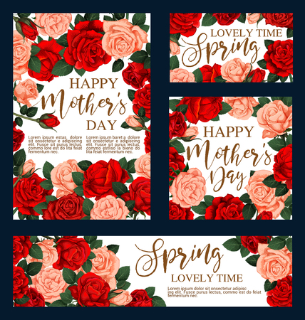 Happy Mother day greeting cards of red flowers for holiday greeting card. Vector design of blooming garden roses and flourish pink rose blossoms bunch for Mother Day posters Illustration