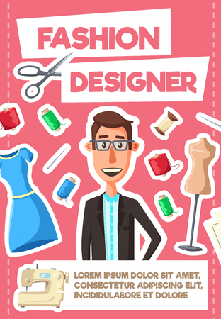 Fashion designer profession, tailor or dressmaker stylist. Vector man with tailoring scissors, threads and needles or dummy dress mannequin, sewing machine and stitches