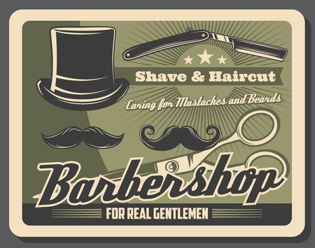 Barbershop or hairdresser vintage poster. Vector beard shave and mustaches trim cut or haircut studio, gentlemen hat, razor shaver and scissors