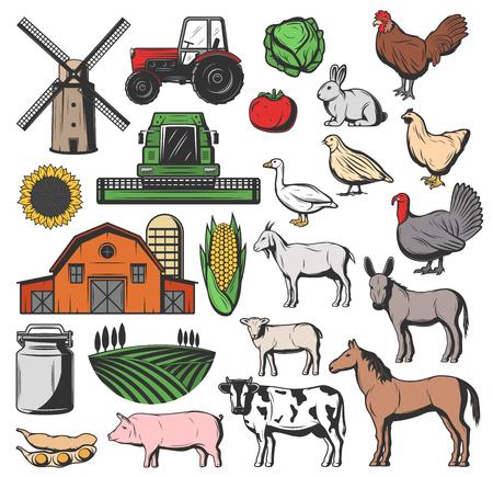 Icônes d'élevage de bovins de ferme et d'agriculture. Grange isolée de vecteur et moulin à blé, tracteur de récolte de légumes, lait laitier et vache ou cheval avec agneau de mouton, âne et cochon sur prairie de pâturage Vecteurs