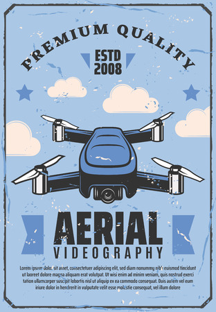 Drone and aerial videography poster. Vector smart device quadcopter or quadrotor helicopter with video camera for air shooting or photographing Stock Illustratie