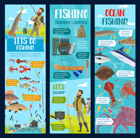 Sea and ocean fishing adventure, marlin, tuna or seafood octopus and salmon fish catch. Vector cartoon fisherman with rod on paddle boat at river fishing pike and lobster