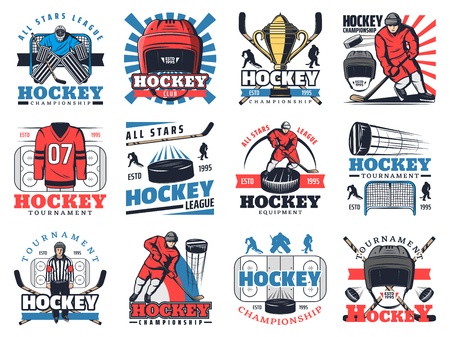 Ice hockey sport club or championship game icons. Vector symbols of ice hockey tournament cup, equipment and players with puck and hockey stick, goalkeeper to defenseman at gates and referee whistle