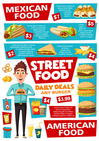 Fast food menu, street food snacks, hot dogs and burgers. Vector fastfood takeaway, Mexican burrito and tacos or quesadilla, cheeseburger or hamburger and coffee with beer and soda