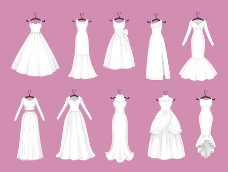 Wedding dress vector isolated icons set. Vector Save the Date greeting, engagement and marriage party invitation or bride tailor salon symbols of white wedding dress models with bows and laces