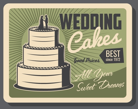 Wedding cakes and party pastry or marriage catering organization agency poster. Vector bride and bridegroom sweets on wedding cake, VIP event celebration 向量圖像