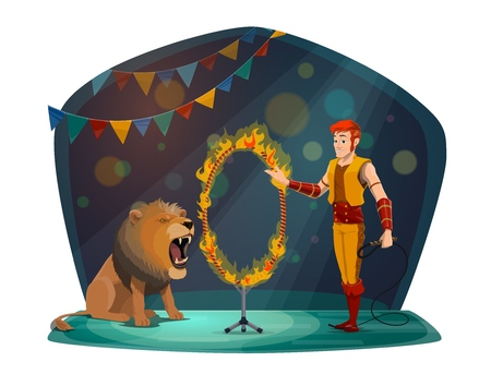 Circus trainer man with lion jumping in fire ring. Big top circus animal and tamer show performance on cartoon arena